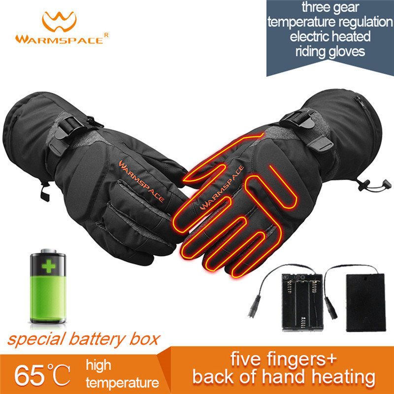 Smart Electric Heating Gloves,3M Waterproof 6xAA Battery Self Heated 5-Fingers/Hand Back,3 Gear Warm 6H Touch Screen Ski Gloves