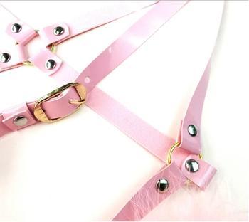 Cosplay Lolita Kawaii Handmade Sexy Harajuku Leather Elastic Garter Belts Waist Garters handcuffs Harness for Dress Costume BDSM 3