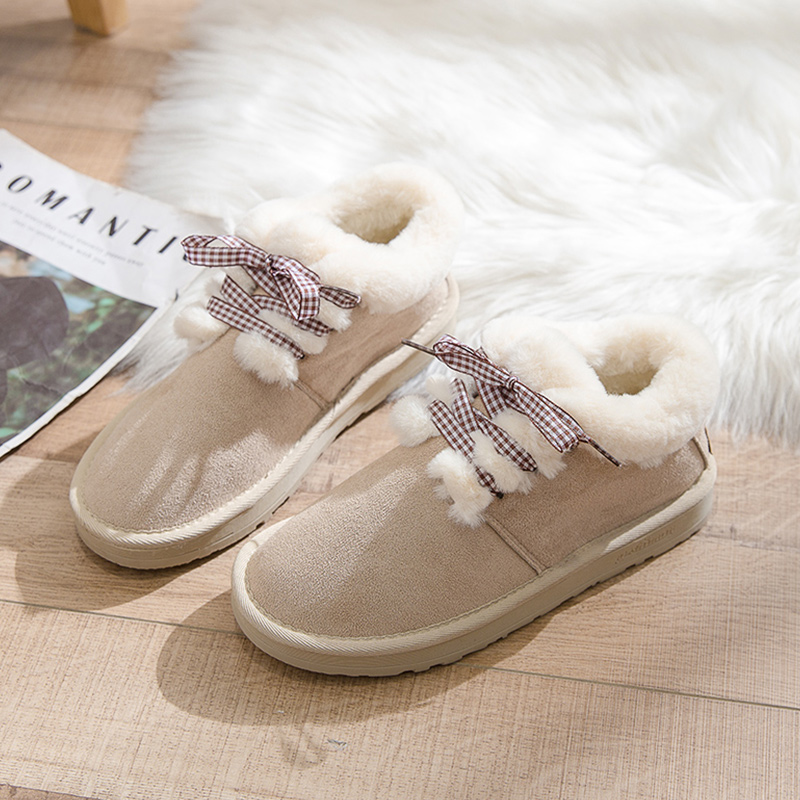 2019 Women Snow Boots Winter Warm Plush Insole Flat Ankle Boots New Fashion Lace-Up Casual Flock Women Shoes 53