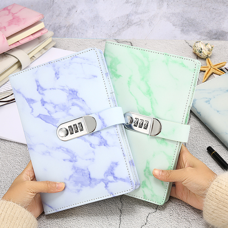 A5 Marble Texture Notebook Password Lock Notebooks Leather Notepad Agenda 2020 Weeks Diary Month Planner School Stationery Gift