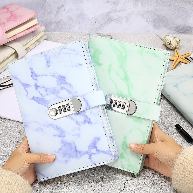 Caderno de textura de mármore a5, livros de notas, couro, agenda 2020 semanas, diário, mês, escola, presente de papelaria