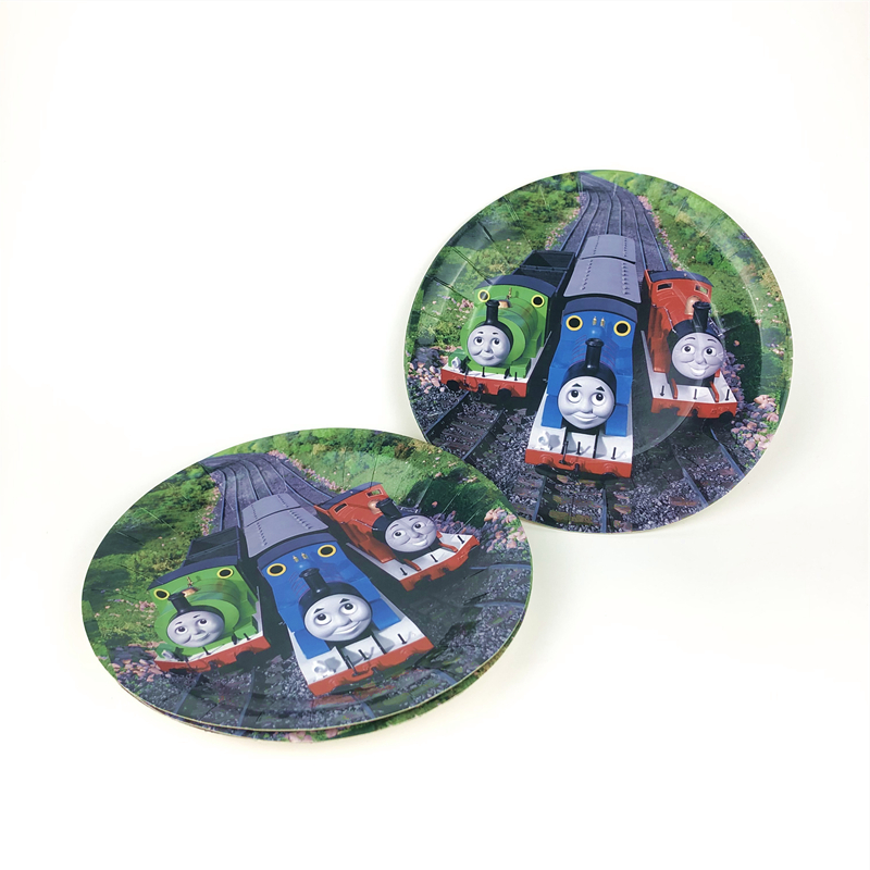 6pcs Cartoon Thomas Train Theme Kids Boys Birthday Party decoration Paper Plate Dish 7inch Print Round Plates Party Supplies