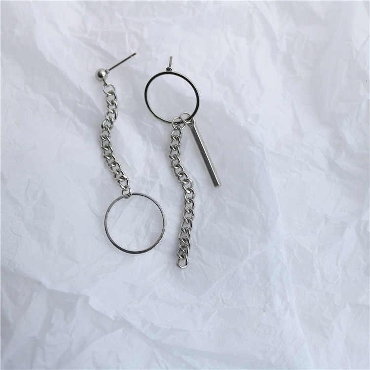 2020 Punk minimalistyczne metalowe kolczyki z łańcuszka geometryczne asymetryczne Vintage okrągłe kolczyki dla kobiet moda biżuteria ucha najlepsze prezenty