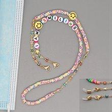 Go2Boho – chaîne de masque en lettres pour femmes, collier Smiley Heishi en argile polymère, bijoux masques mauvais yeux, chaînes lanière, 2020