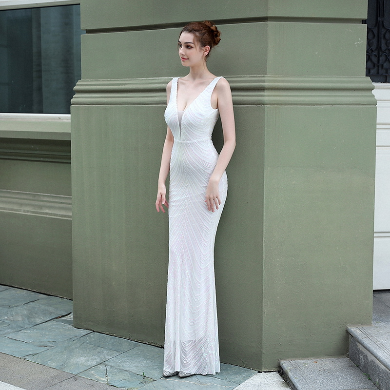 Alibride Evening Dresses Long Mermaid Sequins Lace Evening Dress White Luxury Formal Prom Party Dress V-Neck robe de soiree 2021