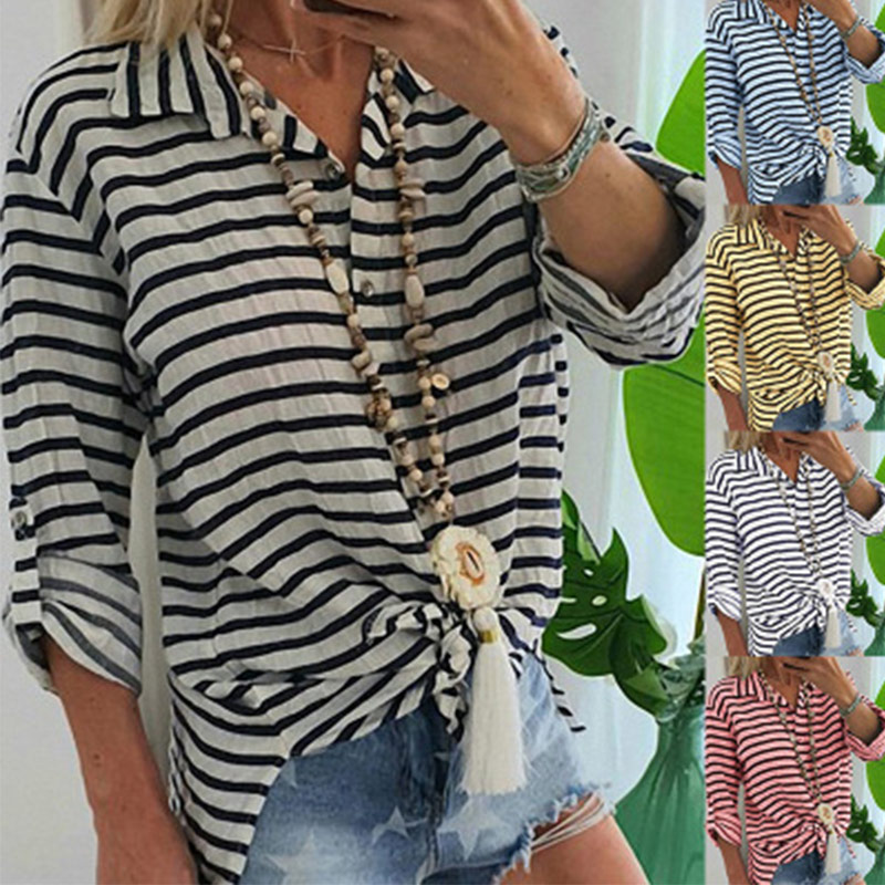 Vacation Linen Striped Casual Women Shirt Stand Collar Button Long Sleeve Ladies Shirts 2020 Spring Summer Ladies Tops Clothes