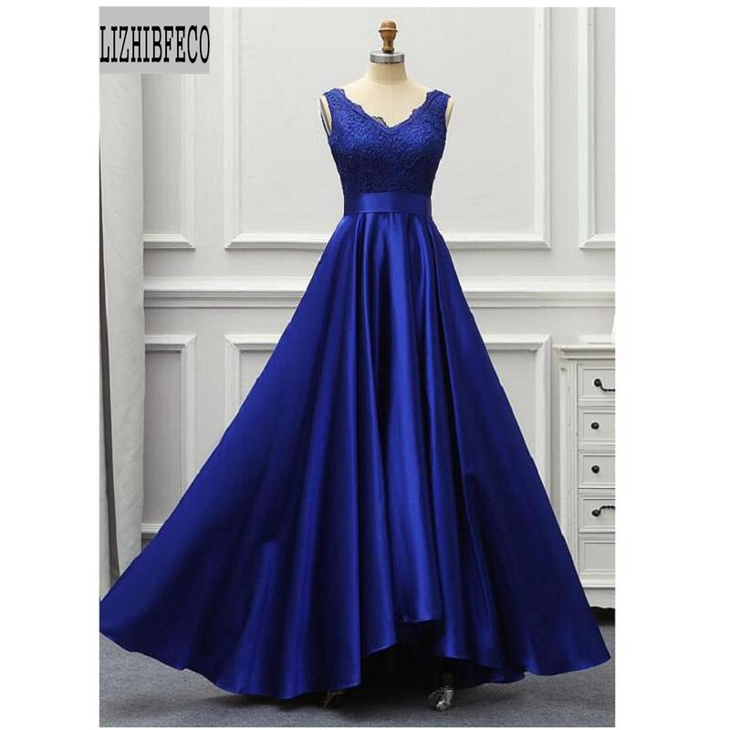 Royal Blue Satin Lace Sleeveless V-Neck Floor-Length A-line Mother Of The Bride Custom Made