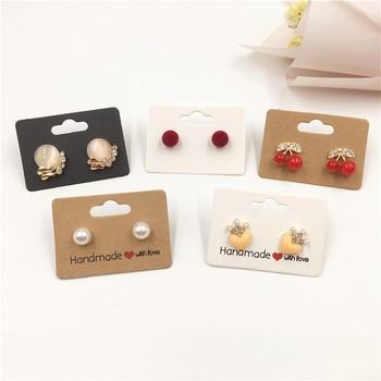 Exhibidor de tarjetas de Papel Kraft para pendientes, 100 Uds., tablero colgante de cartón para joyería, accesorios Diy