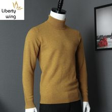 Classic Mens Solid Color Turtleneck Sweater Office Work Man Slim Fit Knitwear Top High Quality 100% Wool Pullover Sueter Hombre(China)