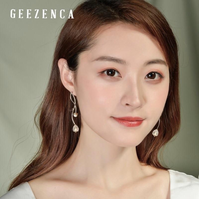 925 argent Sterling cristal perle grenat fleur longues boucles d'oreilles Style chinois à la main pierres précieuses boucle d'oreille bijoux fins femmes - 5