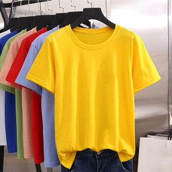 Hot Casual New Womens T-Shirt Pure Refreshing Women T shirt Gorgeous Design Round Neck versatile yellow T shirts stripe pattern round neck stitching design t shirt in black