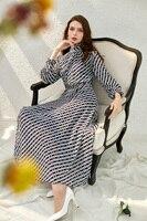 Office Lady Chiffon Spring Long Dress Summer Ruffles Ankle Length Luxury Printed Women Dress