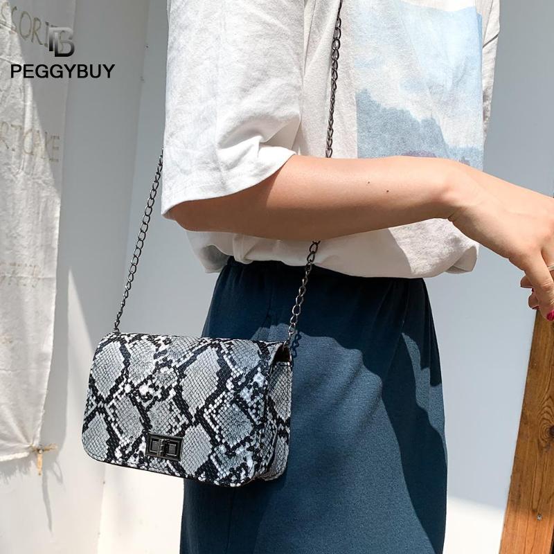 Ladies Snake Print Retro Serpentine Chain Round Women Crossbody Messenger Handbags PU Leather Women Chain Crossbody Bags