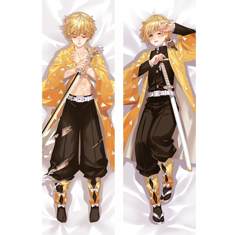 Demon Slayer Kimetsu No Yaiba Anime Cosplay Body Love Pillow Case Agatsuma Zenitsu Dakimakura Cushion Cover Hugging Otaku Gift