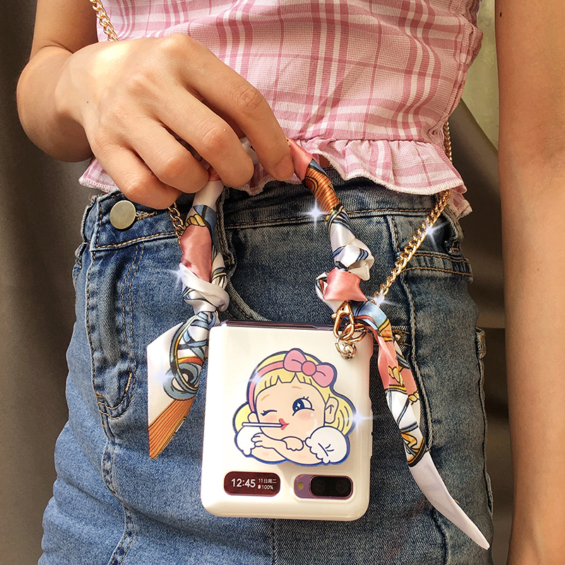 Chain Case for Samsung ZFlip 5G Cover Scarf Bracelet Case F7070 Lanyard Korean Protective Etui Women for ZFlip 5G Galaxy Capa