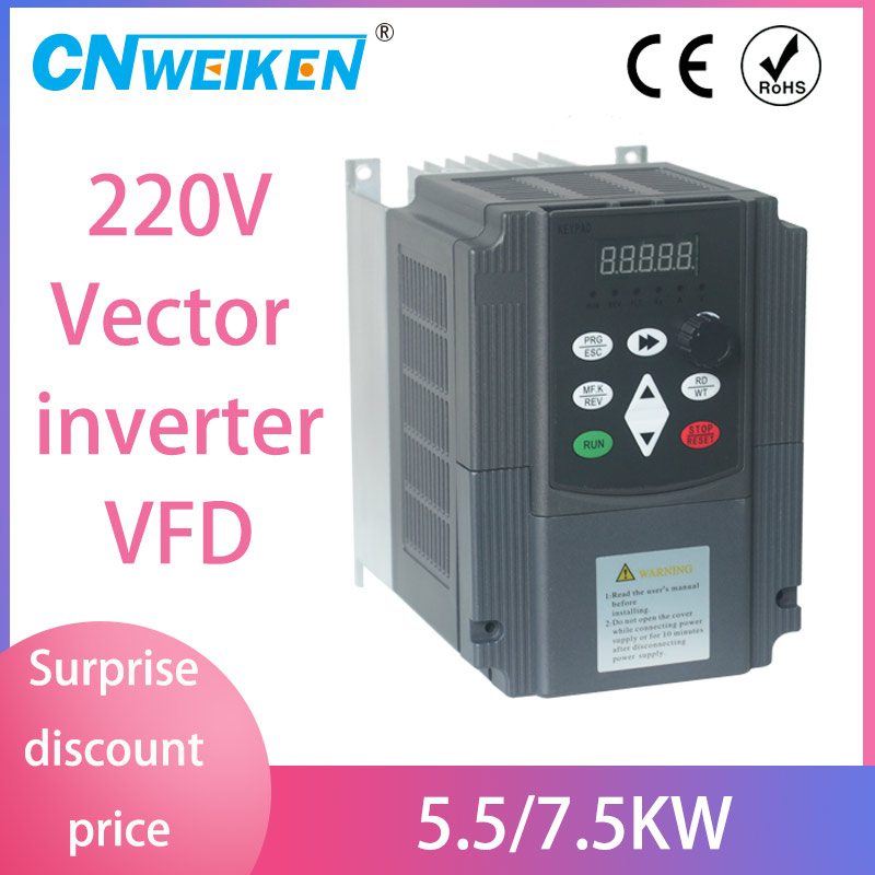 4KW <font><b>220V</b></font> <font><b>20A</b></font> Single Phase Input 3 Phase Output PWM Frequency Converter Drive Inverter CNC Motor Speed 5HP VFD VSD New 2020 image