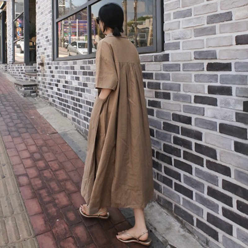 Johnature 2020 del Cotone di Estate di Lino Con Scollo A V Plus Size Veste il Nuovo Coreano di Colore Solido Dell'annata Allentato Tasche 4 Colori Vestito Le Donne