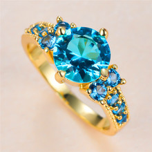 Vintage Female Aqua Blue Crystal Stone Jewelry Charm Gold Color Thin Wedding Rings For Women Luxury Round Zircon Engagement Ring