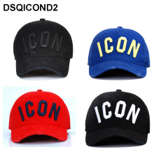 DSQICOND2 New Washed Cotton Baseball Cap ICON Letters Caps Snapback Hat For Men Women Dad Embroidery Casual Hip Hop