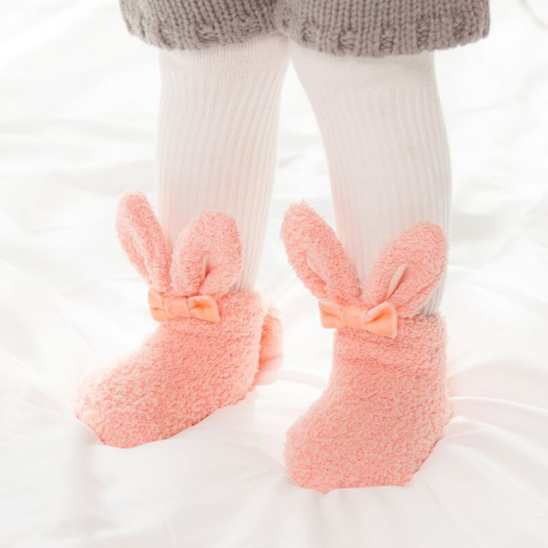 Newborn Autumn And Winter New Coral Velvet Thickening Baby Foot Socks Three-Dimensional Rabbit Ears Cute Girl Bunny Baby Sock