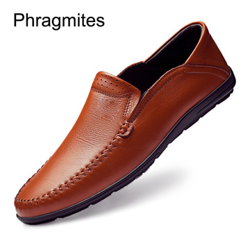 Phragmites Fashion Leather Men Shoes Waterproof Breathable Loafers Men Genuine Leather Moccasins Comfortable Hot Sale Footwear