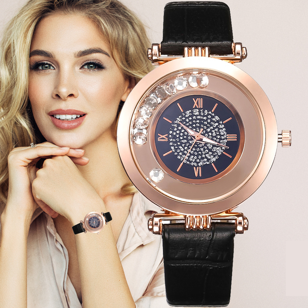 Women Watches Top Brand Luxury Leather Quartz Wristwatch Ladies Dress Rhinestone Watch Black Watches Reloj Mujer Montre Femme