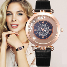 Women Watches Top Brand Luxury Leather Quartz Wristwatch Ladies Dress Rhinestone