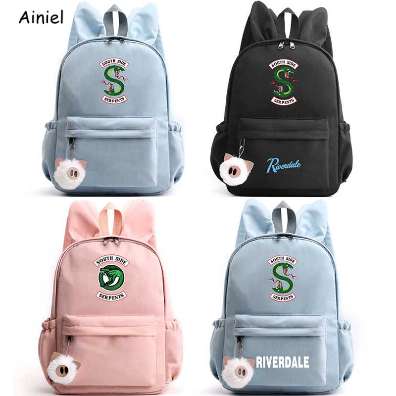 Serpents Riverdale Backpack Cute Rabbit Ears Large Capacity Backpacks Travel Bags Pencil Case School Backpack Teenage Girls Boys