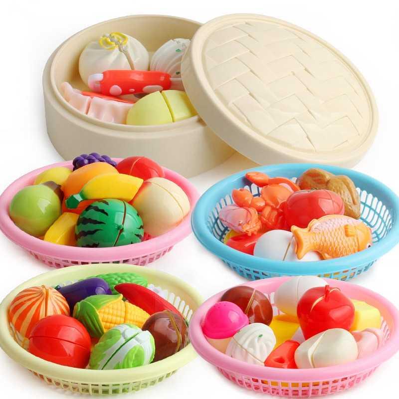 Juego de juguetes de cocina para niños, juego de simulación en miniatura, comida de plástico, fruta, marisco, verdura, desayuno, muñeca, comida falsa para niñas, juguete para niños