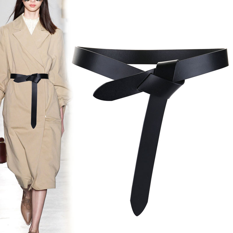 Newest Design knot cowskin belts for women soft real leather knotted strap belt long genuine dress accessories lady waistbands