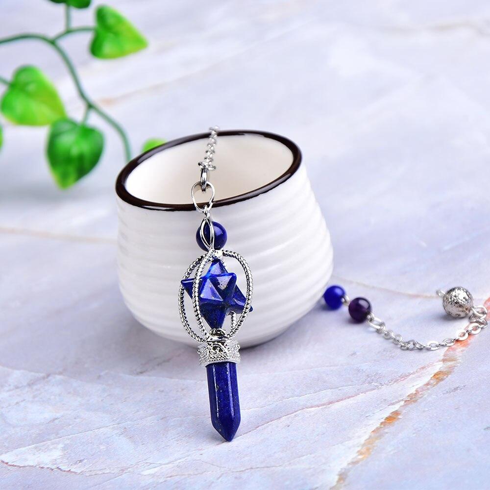 Merkaba-pendule de projection en cristal naturel, pendule en Quartz Rose, baguette en cristal Reiki, chaîne colorée, pour hommes et femmes, bijoux cadeau