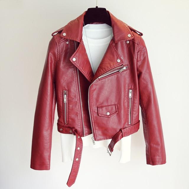 FTLZZ Fashion Pu Leather Jacket Women Bright Color Black Motorcycle Coats Short Faux Leather Biker Jackets Soft Coat Female 2