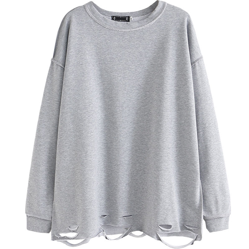 Women Long Sleeve Sweatshirt 2020 Spring Pullover Large Size Hem Hole Hoody For Female Loose Tops S65-2004