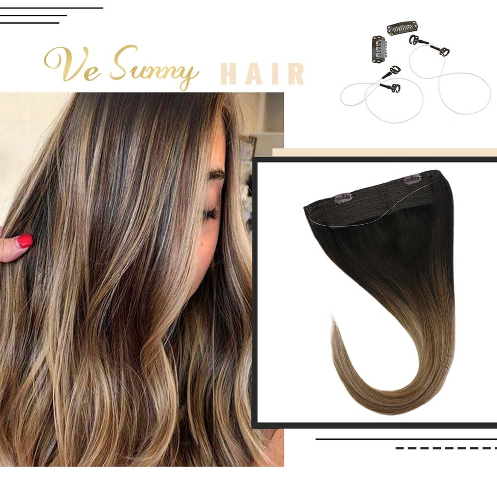 VeSunny Invisible Halo Hair Extensions Human Hair Flip Wire With 2 Clips Balayage Ombre Brown To Ash Blonde Highlights #2/6/18A