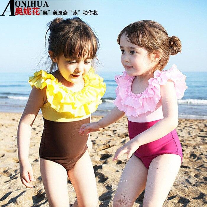 2018 Children One-piece Triangular + Supporting Swim Cap 2 Pieces GIRL'S Swimsuit GIRL'S Children Swimwear Olive Flower 1415