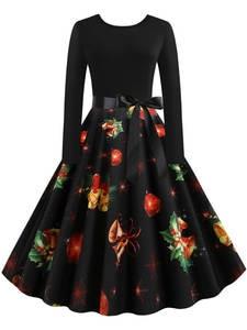 Robe Femme Christmas-Dress Long-Sleeve Print Black Elegant Vintage Plus-Size Women Winter