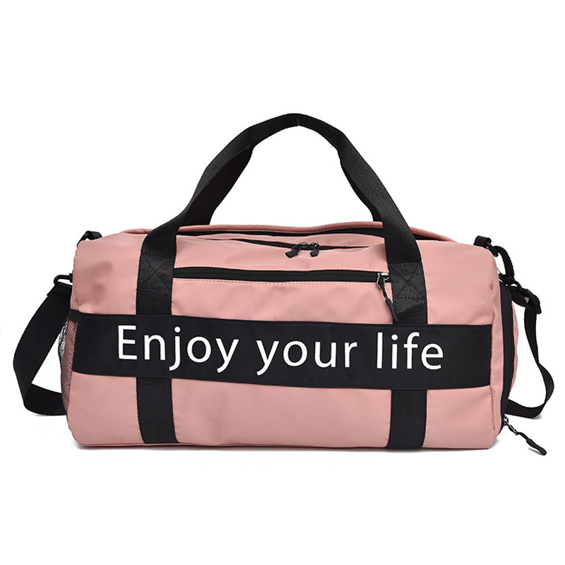 Women Pink Sports Bag Men Black Nylon Waterproof Gym Bag Independent Shoe Position Luggage Storage Handbag Outdoor Travel Bags