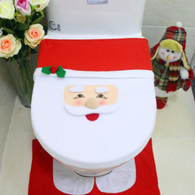 Christmas-Toilet-Seat-Cover Bathroom-Ornaments No for Home 1pcs Snowman Santa-Claus New-Year