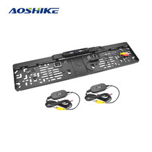 AOSHIKE Car 90dg HD Reverse Rear View Camera Waterproof License Plate Parking Line Night Verson 12V 4 LED EU Infrared Reversing(China)