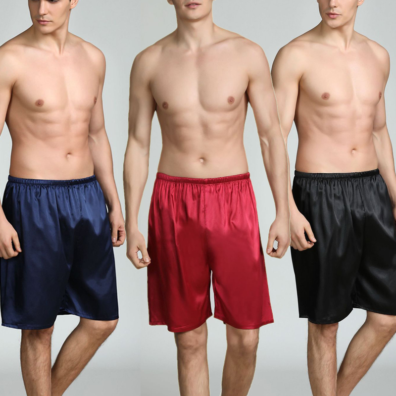 Mens Shorts Pajamas Silk Satin Short Pants Pyjamas Lounge Pants Sleep Bottoms Plus Size 5XL
