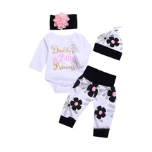4PCS Newborn Baby Girls Clothing Set Long Sleeve Tops Romper Pants Hat Outfits Cotton Girl Toddler Clothes
