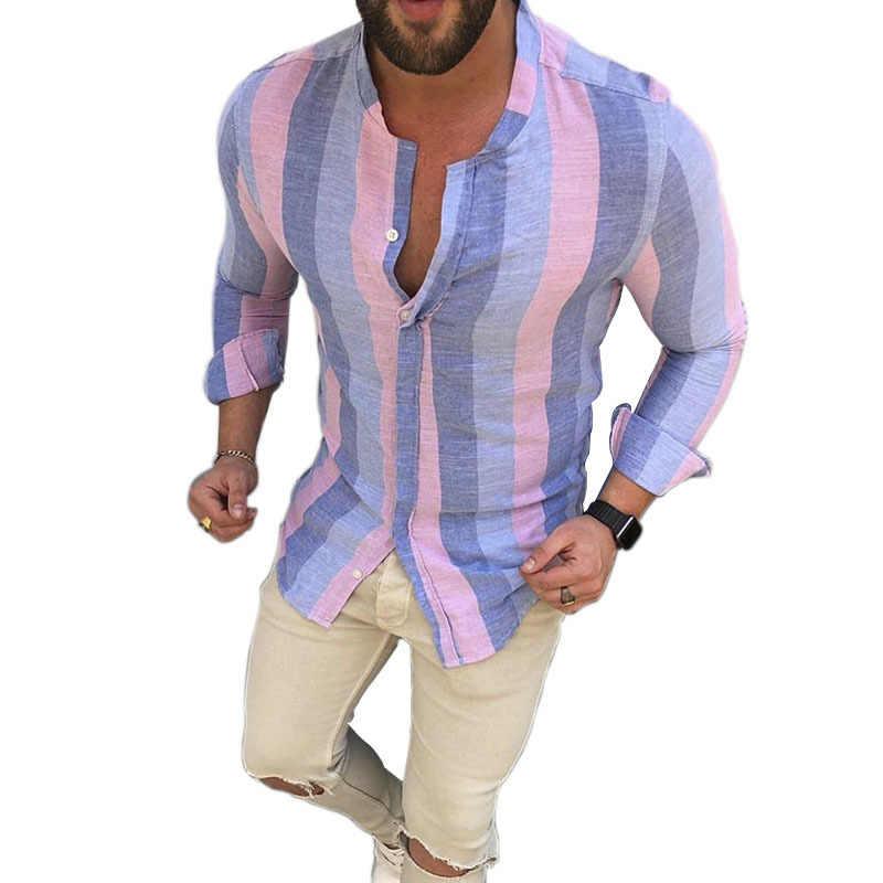 リネンストライプシャツメンズバギーコットンシャツ 2020 セクシーな男性のカジュアル襟亜麻スリムフィットシャツプラスサイズカミーサ虹トップス