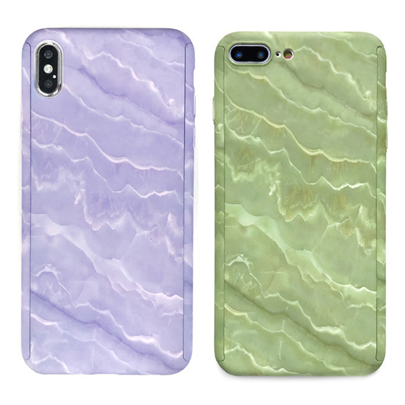 Fashion <font><b>360</b></font> Degree Full Body Protection Phone Case For iPhone 11 Pro Max 10 X XS Max XR 6 <font><b>6S</b></font> 7 8 Plus 5 5S SE Wave Hard PC Cover image