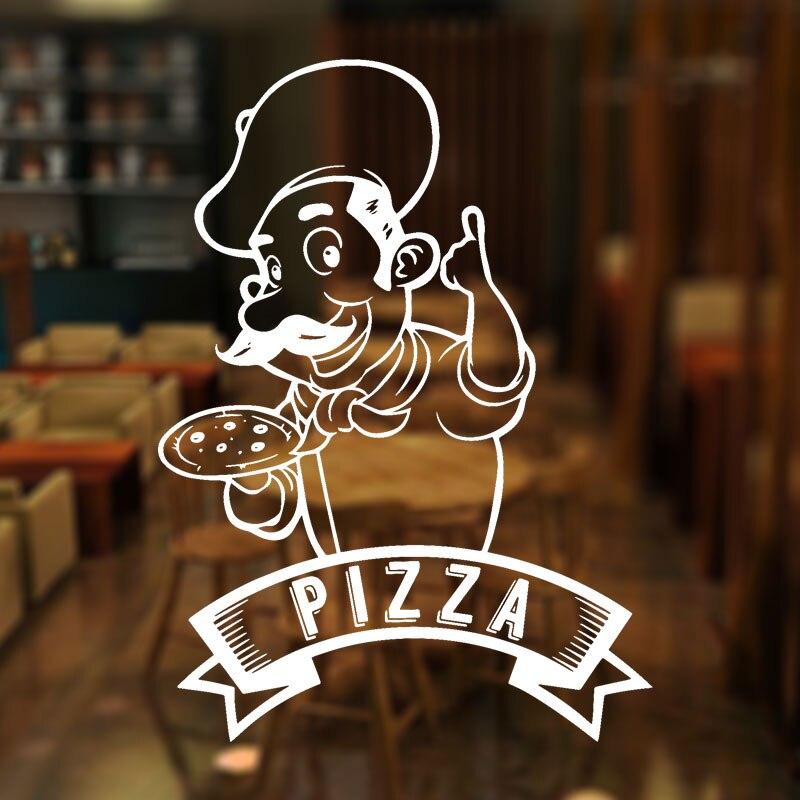 Pizza Pizzeria Logo Cook Sign Window Sticker Vinyl Art Home Decor For Kitchen Italian Restaurant Dinning Room Wall Decals 4130