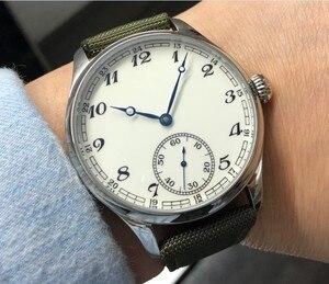 Image 2 - Nowe mody 44mm nie logo emalia biała tarcza azjatyckich 6498 17 klejnotów ruch męska mechaniczne zegarki GR47 20