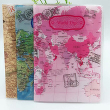 Womens PVC Leather Waterproof Passport Holder New World Trip Map Travel Covers for Men Wallet Card
