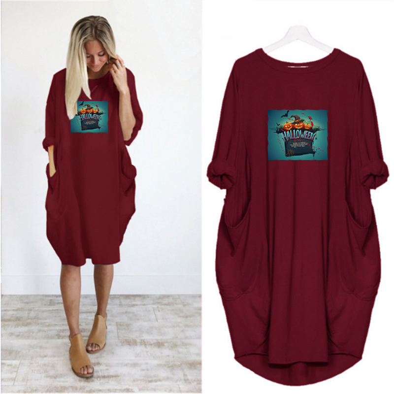 Dress Women Halloween Printing Pocket Loose Dresses Vintage Fall Maxi Clothes Party Casual Dresses Woman Plus Size Womens Dress