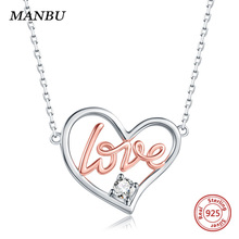 925 sterling silver heart pendant necklace Rose Gold plated & zircon chain necklaces for women fashion jewelry anniversary gift все цены