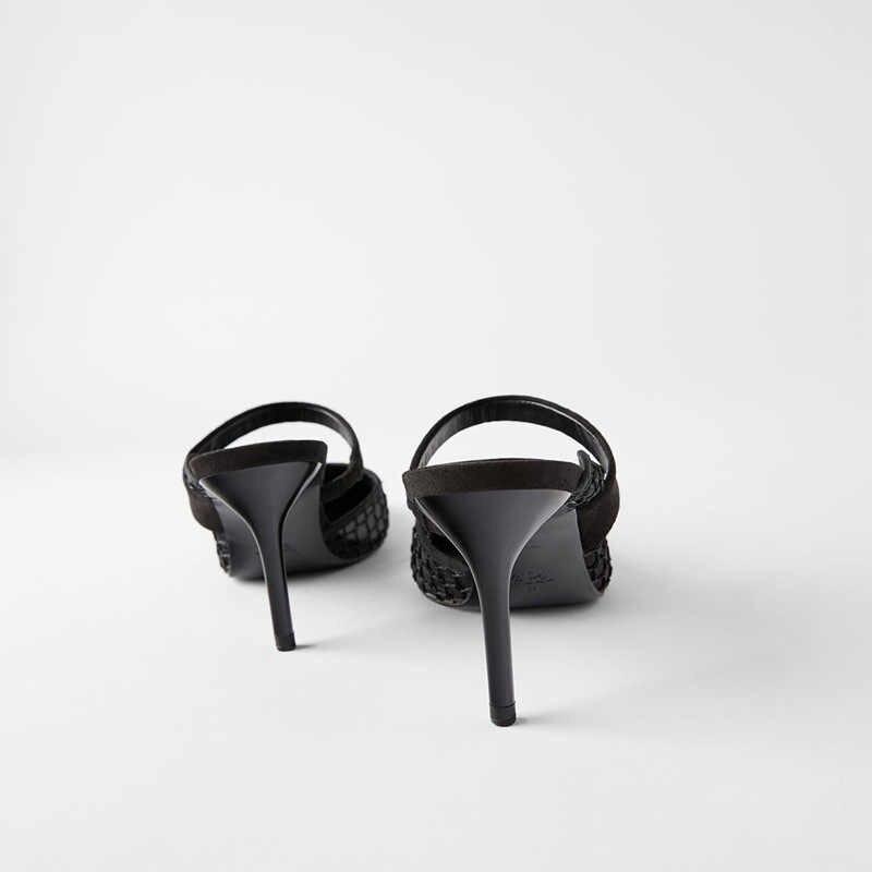 Za Promi Stil 2019 Neue Stil FRAUEN Schuhe Schwarz Und Weiß mit Muster Dünne Mit Hohen Absätzen Strappy Netz aushöhlen Hohe -ferse Maultiere
