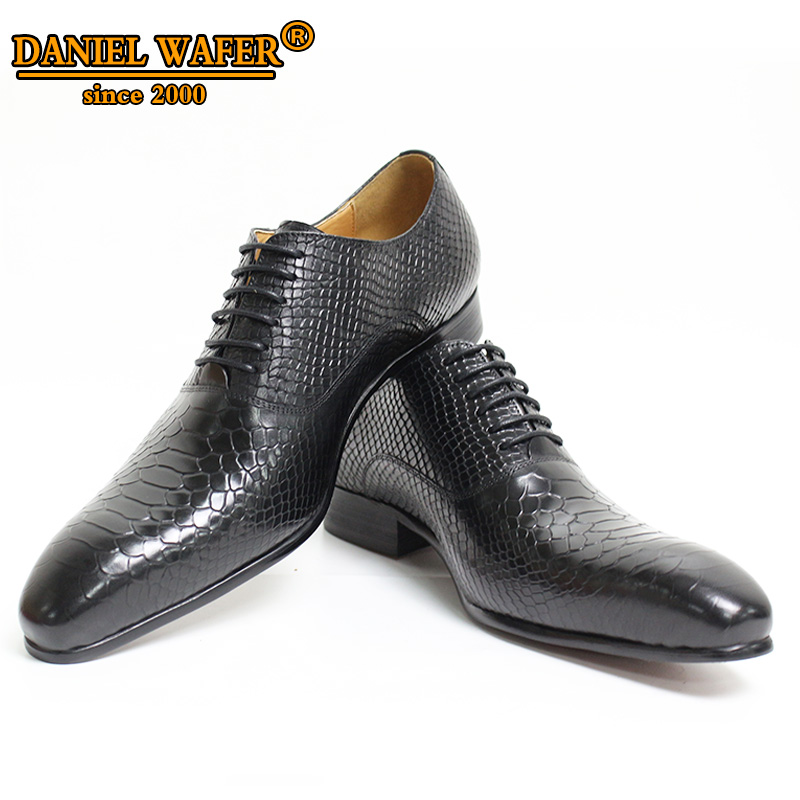 Luxury Men Oxford Shoes Snake Skin Prints Classic Style Dress Leather Shoes Coffee Black Lace Up Pointed Toe Formal Shoes Men